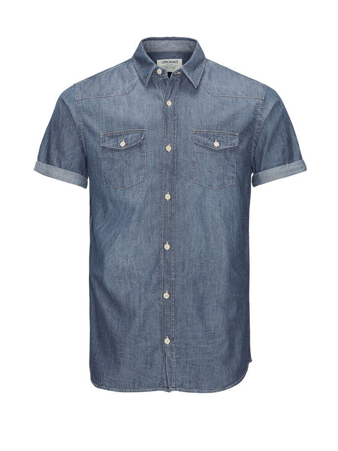 DENIM SHORT SLEEVED SHIRT, Dark Blue Denim, large