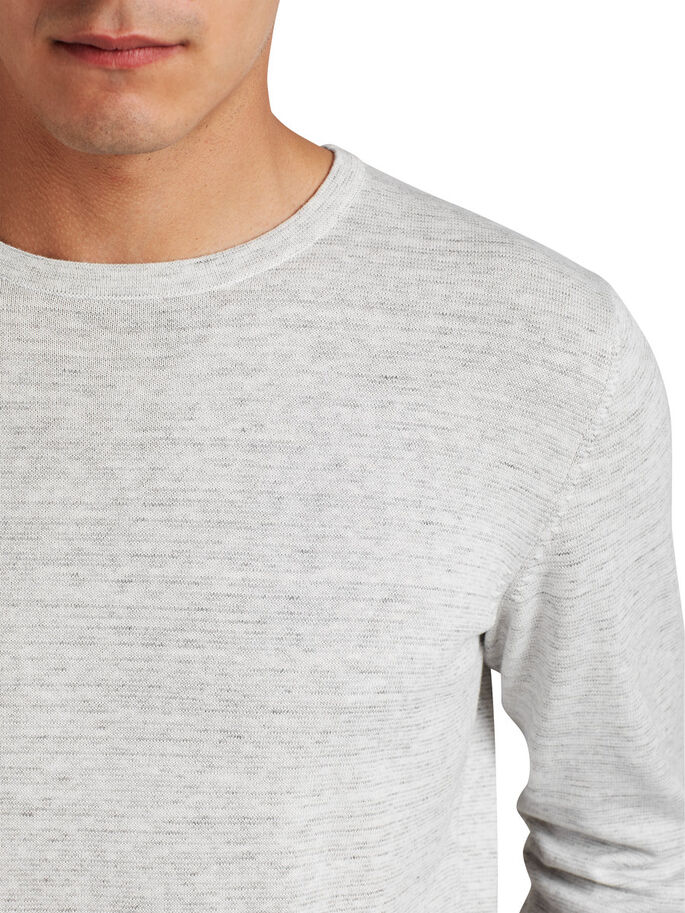 GEVLEKTE CREW NECK TRUI, Light Grey Melange, large