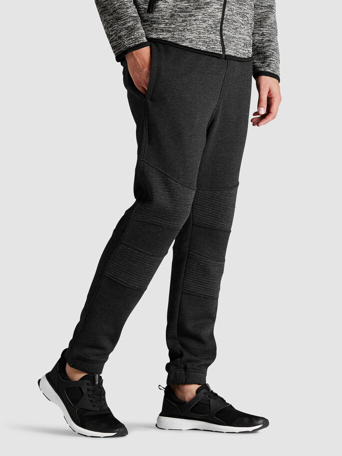 TIGHT FIT SWEAT PANTS, Dark Grey Melange, large
