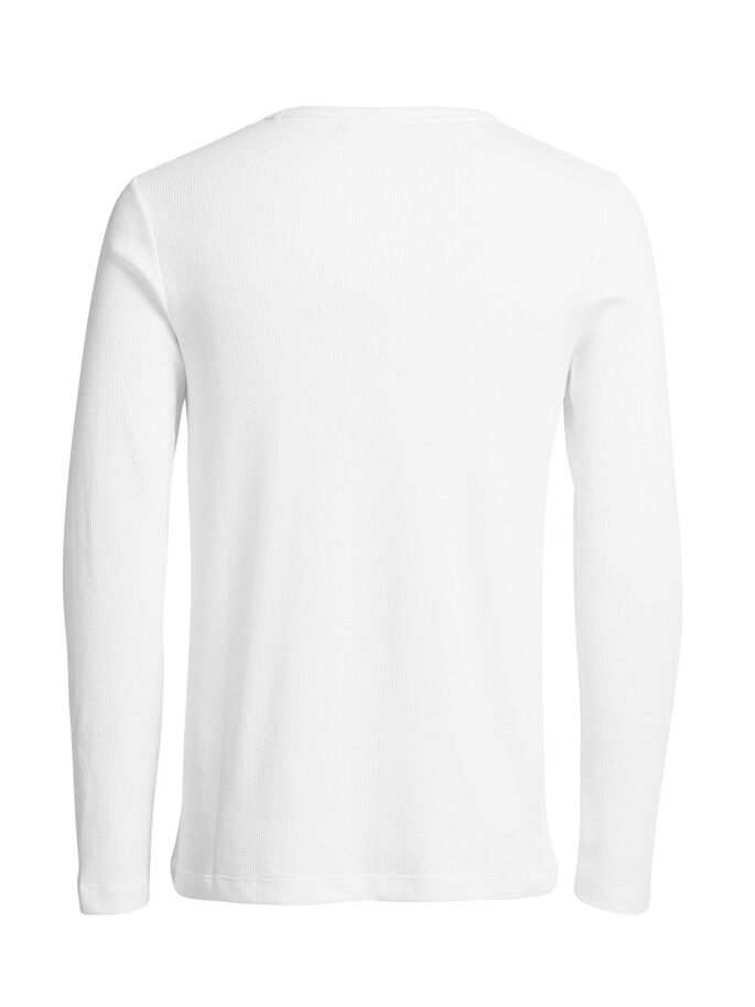 VÅFFELVÄVD SWEATSHIRT, White, large