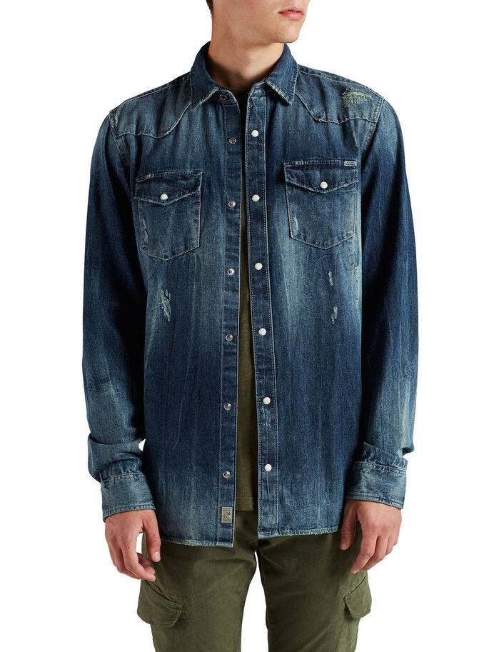 DENIM WESTERN LONG SLEEVED SHIRT, Dark Blue Denim, large