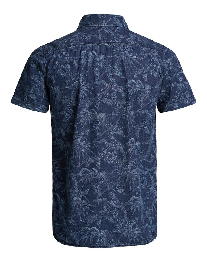 FLORAL PRINT SHORT SLEEVED SHIRT, Dark Blue Denim, large