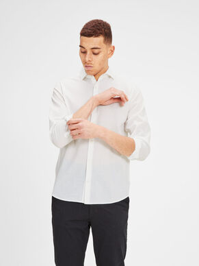 LINEN BLEND SPREAD COLLAR BUSINESS SHIRT