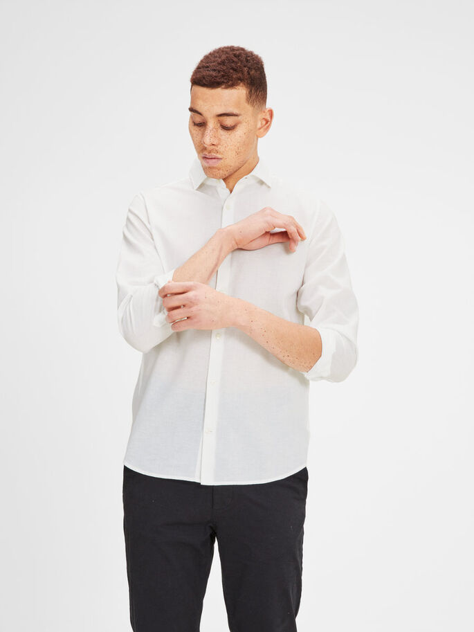 LINEN BLEND SPREAD COLLAR BUSINESS SHIRT, White, large