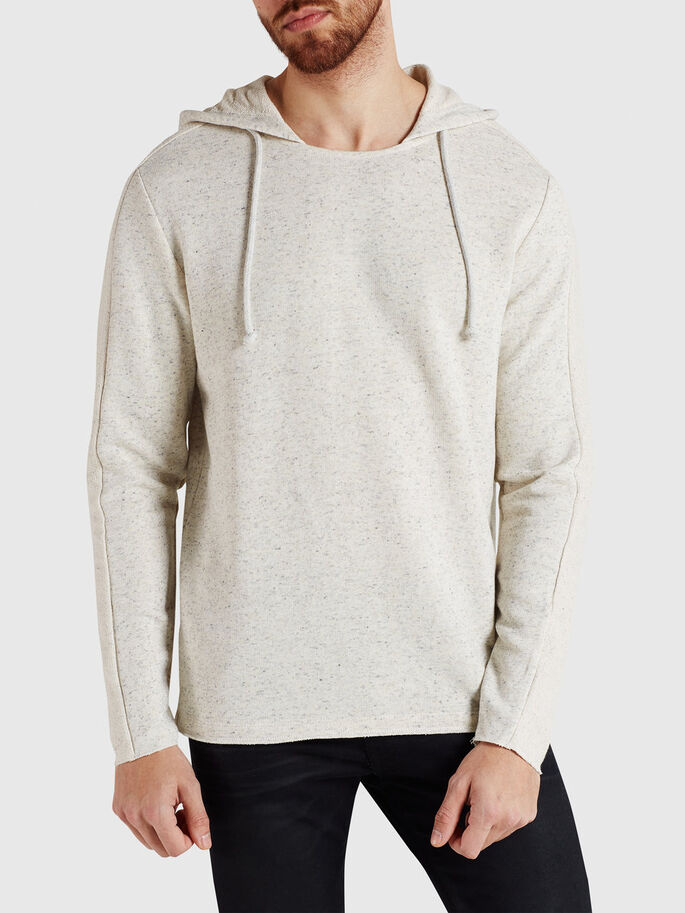 LÄSSIGER SWEAT- HOODIE, Treated White, large