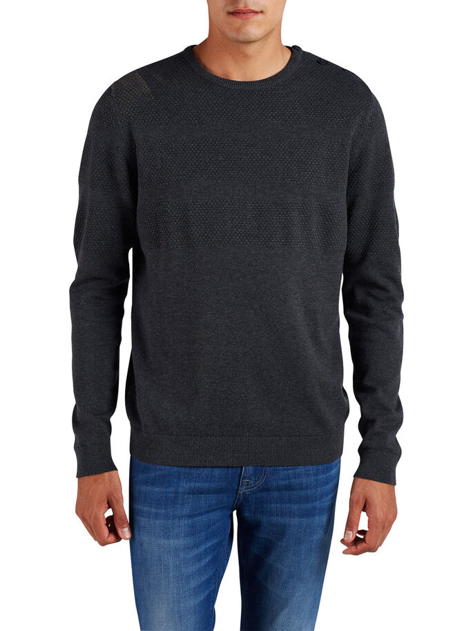 STRUCTURED CREW NECK KNITTED PULLOVER, Dark Grey Melange, large