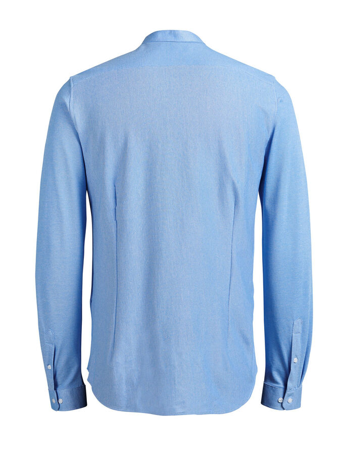 PIQUE MAO LONG SLEEVED SHIRT, Cashmere Blue, large