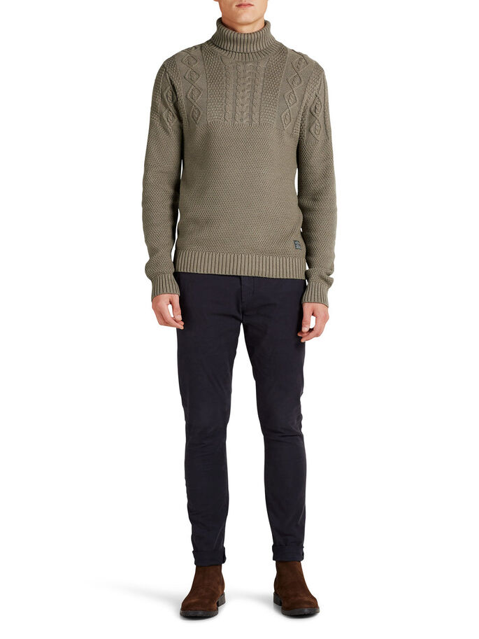 ROLL NECK PULLOVER, Oatmeal, large
