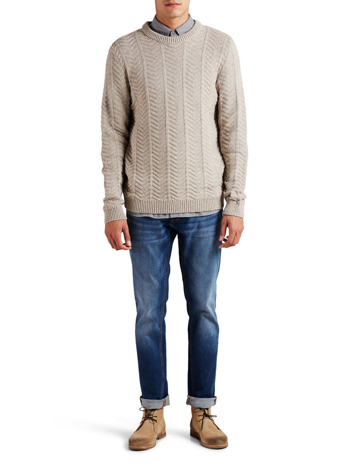 ZOPFSTRICK- PULLOVER, Oatmeal, large