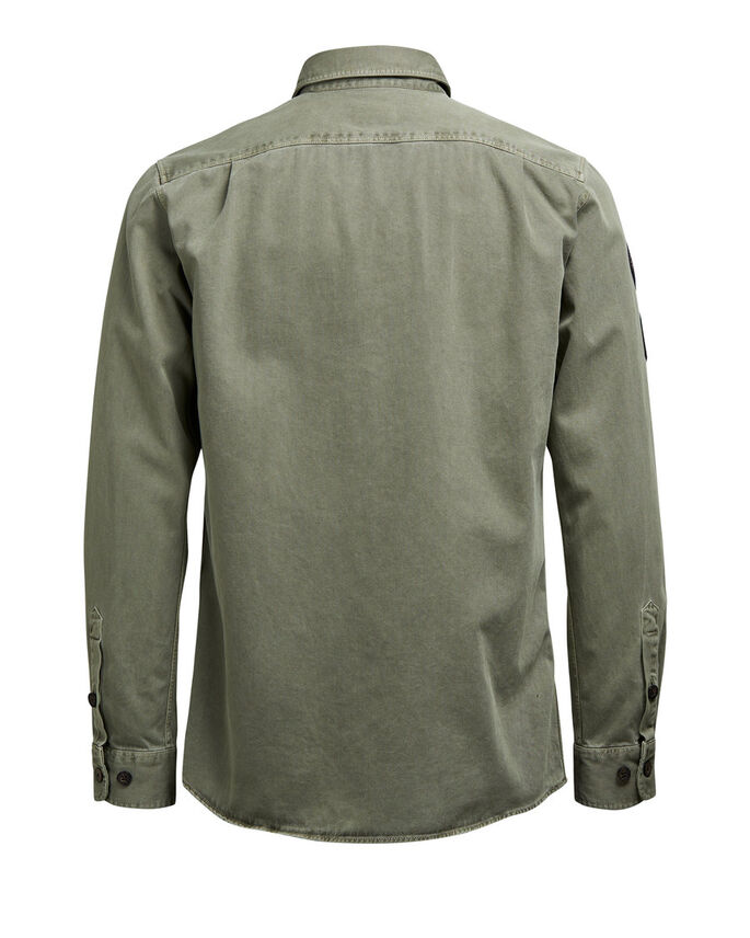 PATCH LONG SLEEVED SHIRT, Black Olive, large
