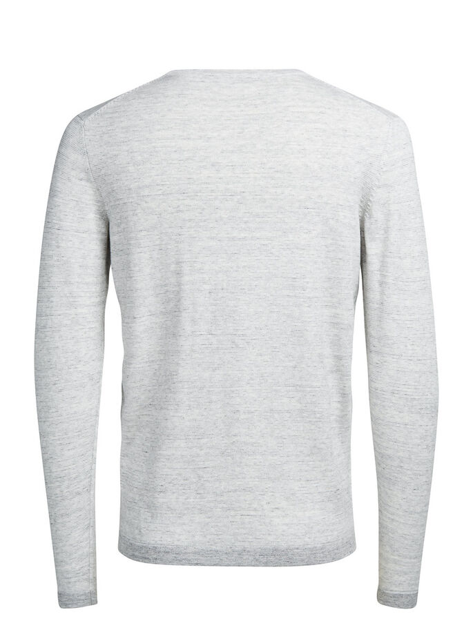 FLECKED CREW NECK PULLOVER, Light Grey Melange, large