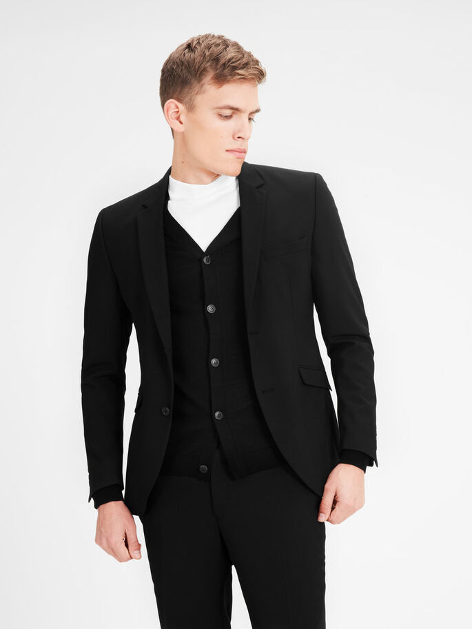REGULAR FIT BLAZER, Black, large