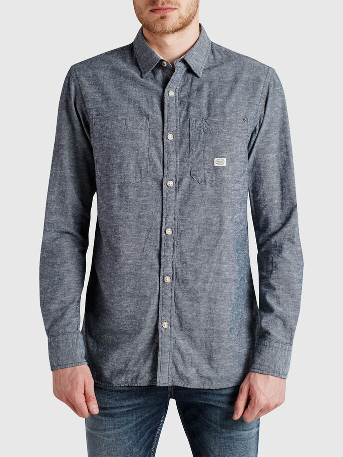 CHAMBRAY CASUAL SHIRT, Medium Blue Denim, large