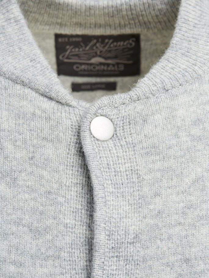 WOLL- STRICKJACKE, Light Grey Melange, large