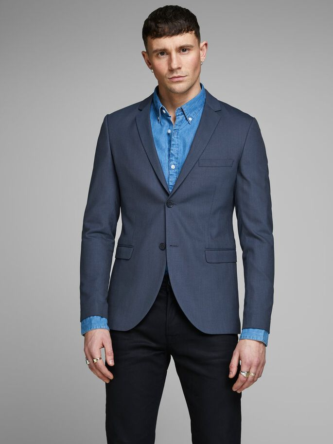 KLASSISK NAVY SLIM FIT BLAZER, Dark Navy, large