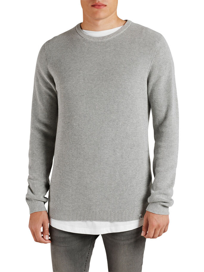 STRAKKE TRUI, Light Grey Melange, large
