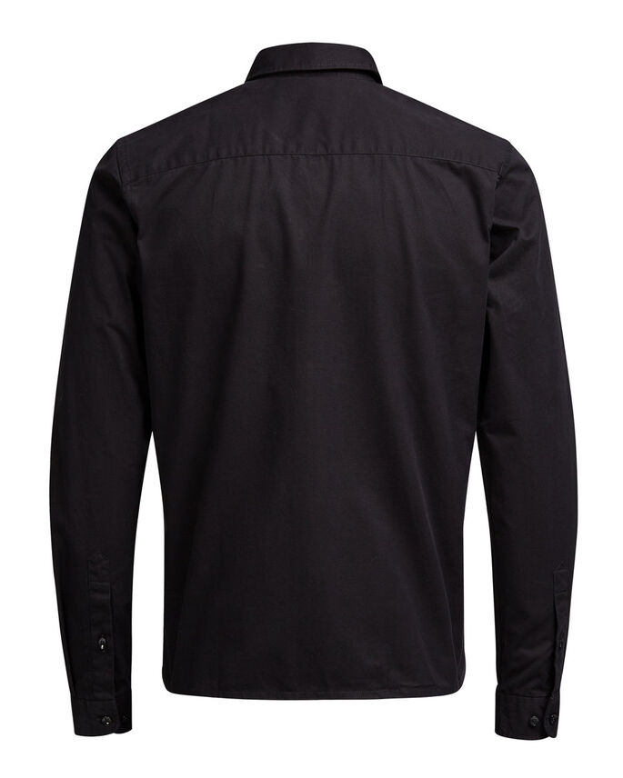 ZIPPED OVER LONG SLEEVED SHIRT, Black, large