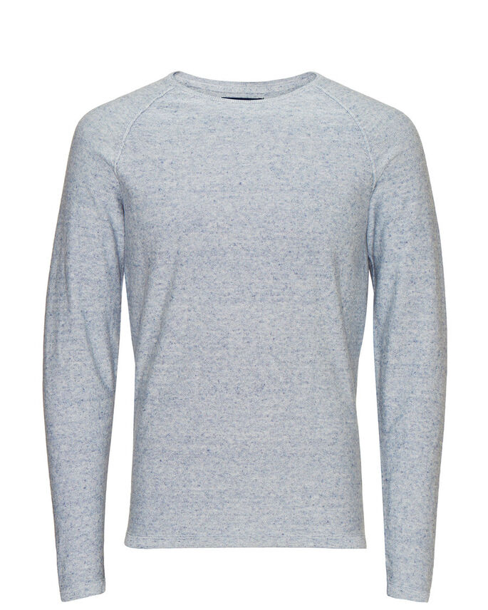MELANGE CREWNECK STRIKKET PULLOVER, China Blue, large
