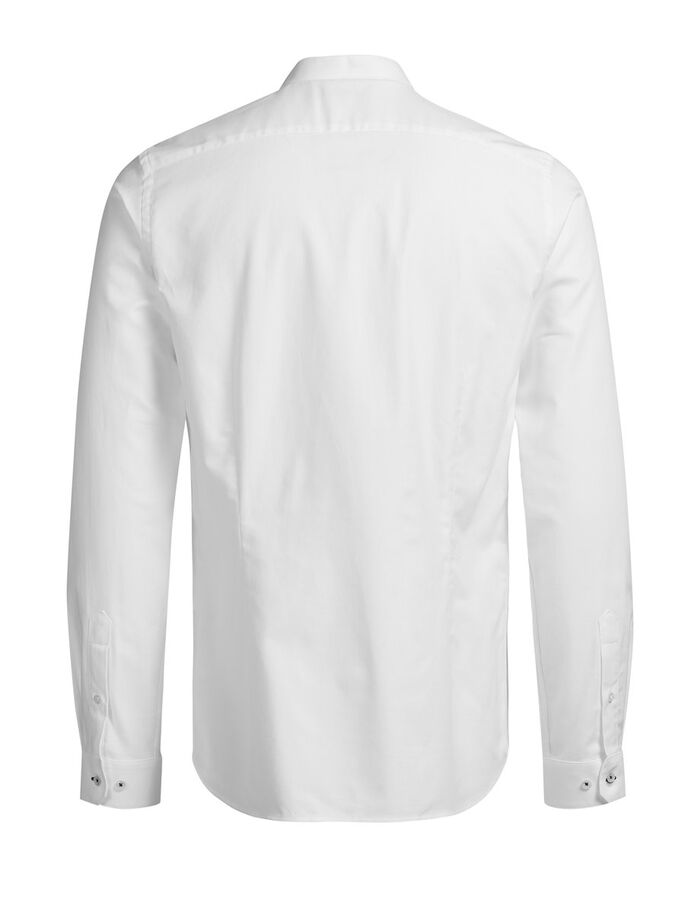 BAND COLLAR LONG SLEEVED SHIRT, White, large