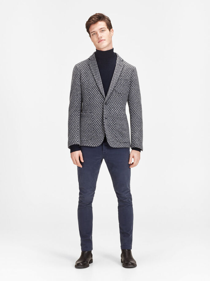 WOLLMIXMUSTER- BLAZER, Dark Grey, large