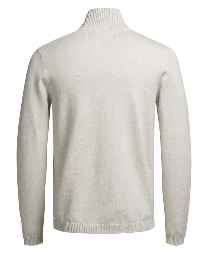SHAWL NECK GEBREIDE TRUI, White Melange, large