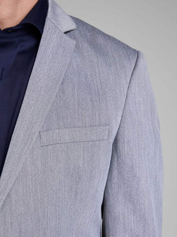 GRIJZE GEMÊLEERDE BLAZER, Light Grey Melange, large