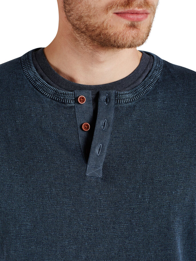 GRANDAD-KRAGEN- PULLOVER, Dark Denim, large