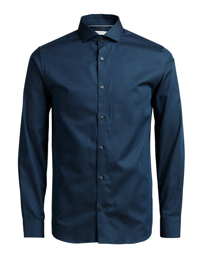 FORMEL SLIM FIT LONG SLEEVED SHIRT, Navy Blazer, large