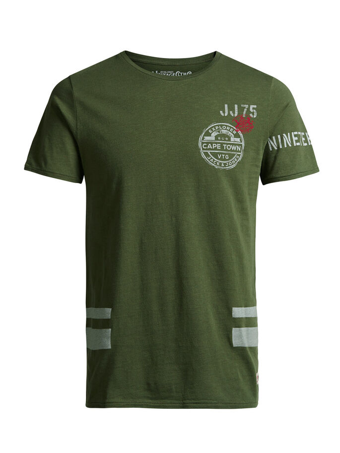 PRINTED T-SHIRT, Olive Night, large