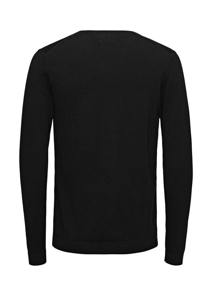 SILKE MIX V-NECK PULLOVER, Black, large