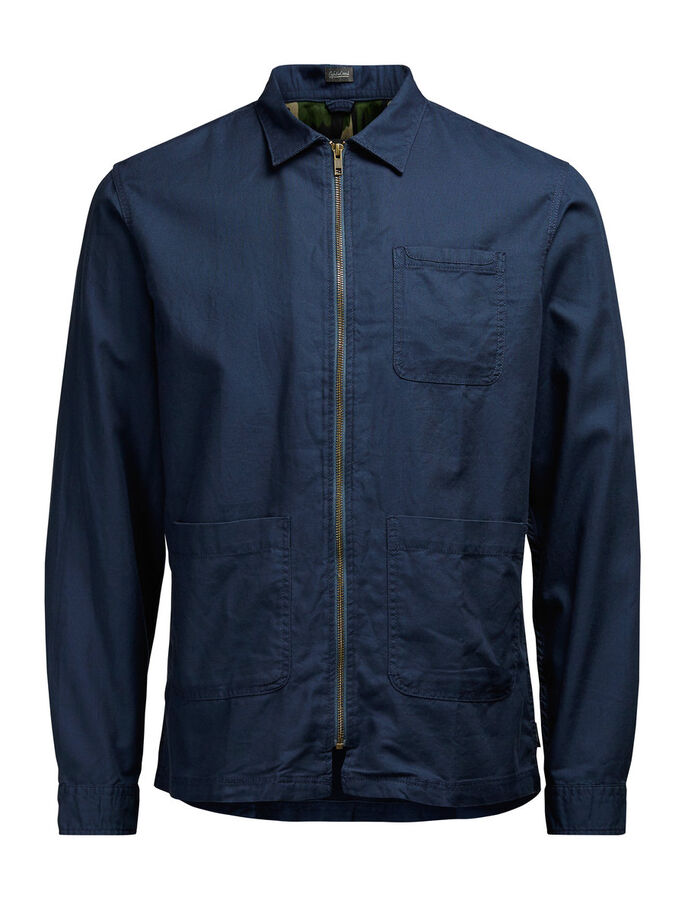 ZIPPER SHIRT, Navy Blazer, large