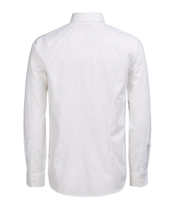 DE CUELLO ITALIANO CAMISA DE MANGA LARGA, White, large