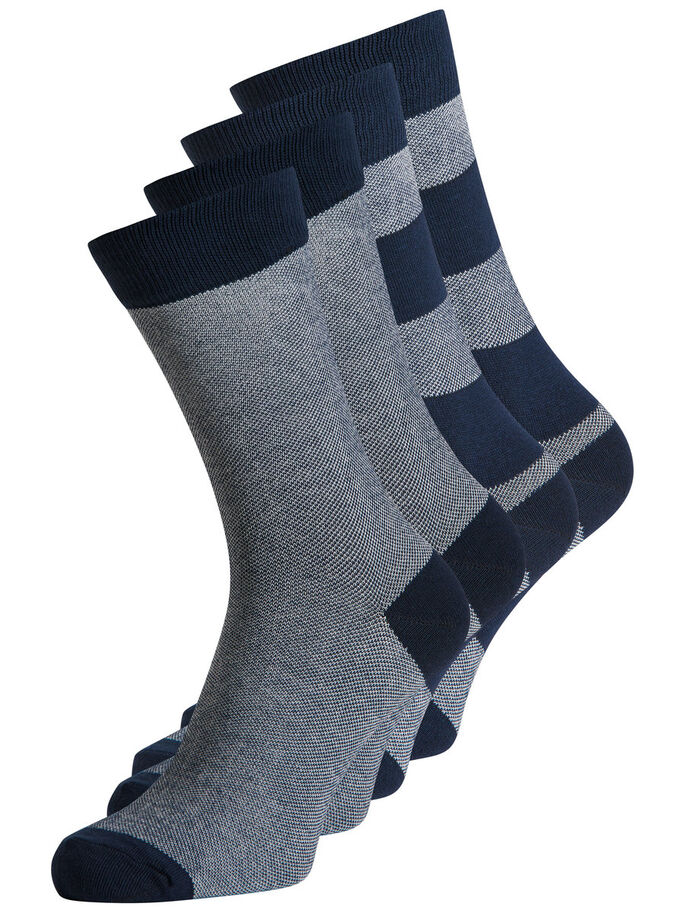 4-PACK SOCKS, Navy Blazer, large