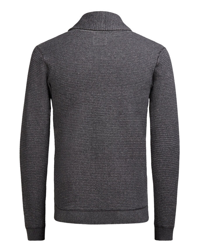 SHAWL NECK CARDIGAN, Dark Grey Melange, large