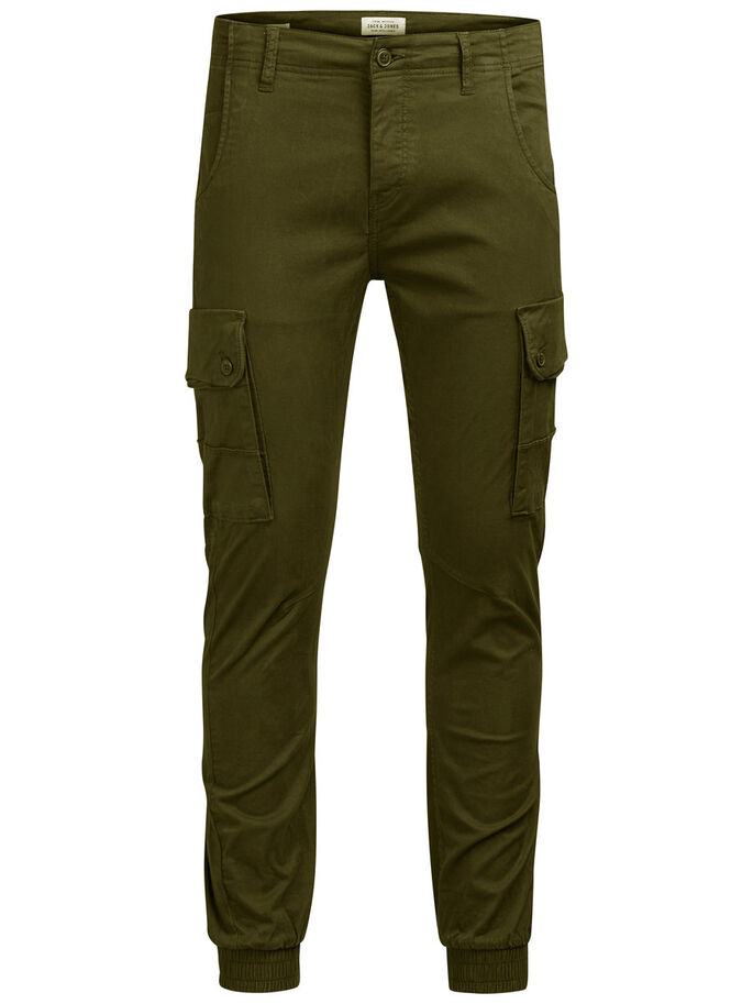 PAUL WARNER AKM 168 OLIVE NIG CARGO PANTS, Olive Night, large