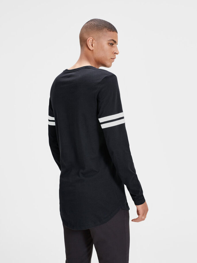 GRAPHIC LONG-SLEEVED T-SHIRT, Black, large