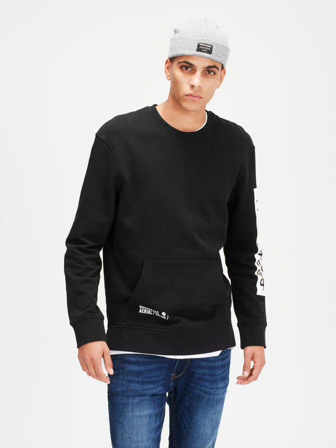 DETAILLIERTES SWEATSHIRT, Black, large
