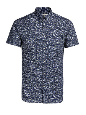MICRO-FLORAL PRINT SHORT SLEEVED SHIRT