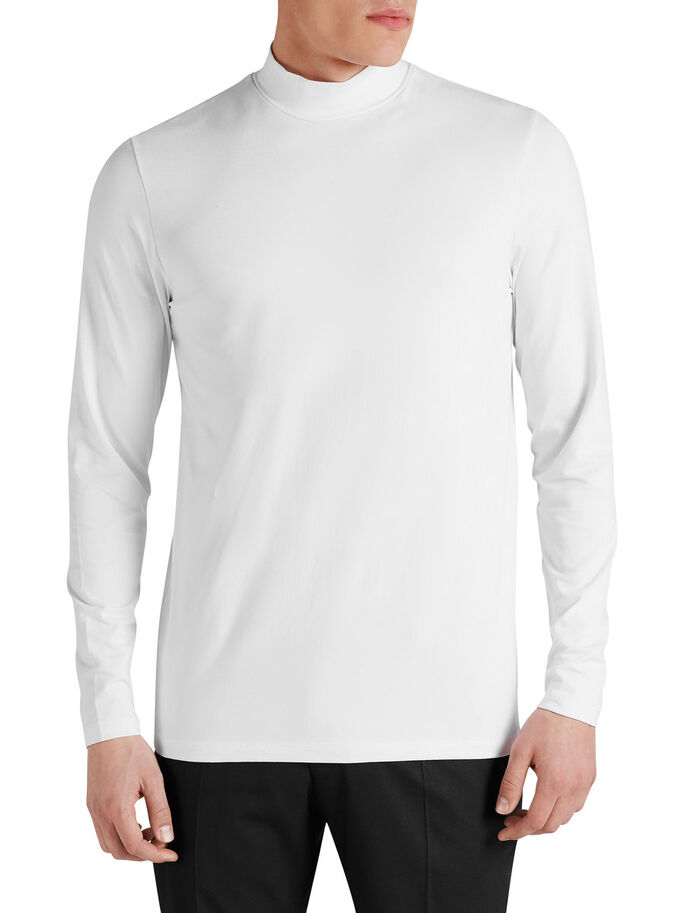 LONG SLEEVED TURTLENECK LONG-SLEEVED T-SHIRT, White, large