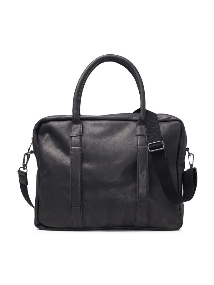 LEATHER BAG, Black, large