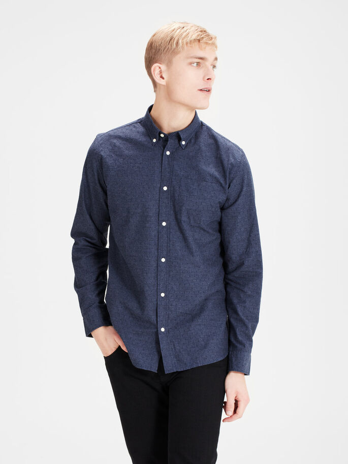 BUTTON-DOWN LONG SLEEVED SHIRT, Dark Blue Denim, large