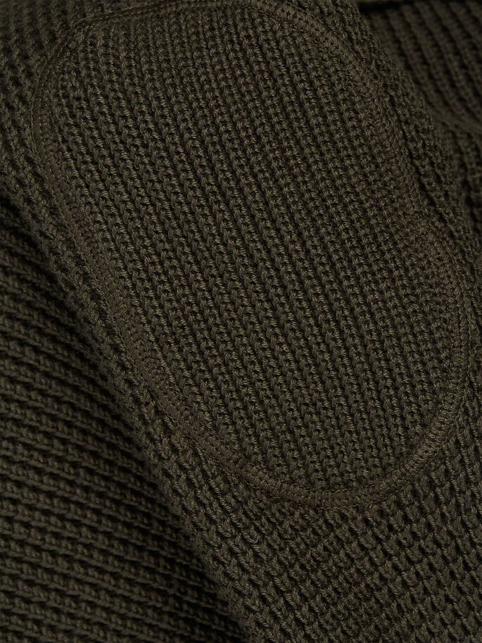 WAFFLE KNIT SHAWL NECK CARDIGAN, Olive Night, large