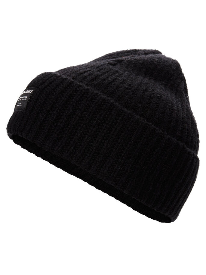 SHORT BEANIE BEANIE, Black, large