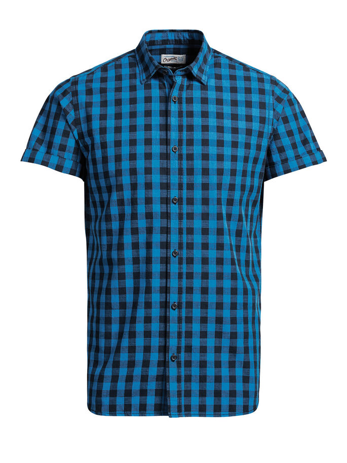 CHECK SHORT SLEEVED SHIRT, Imperial Blue, large