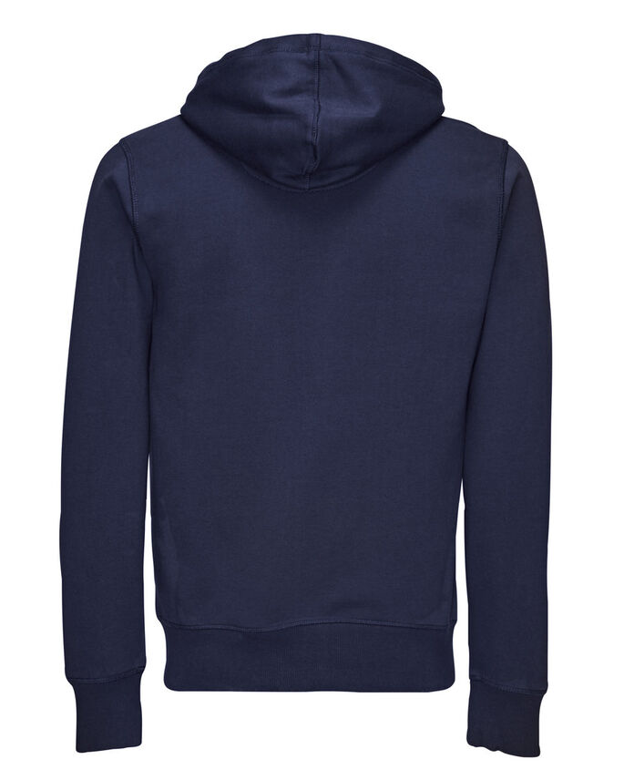 ZIPPED HOODIE, NAVY BLUE, large