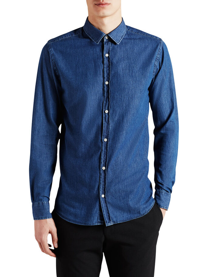 DENIM ELEGANTE - CAMISA DE MANGA LARGA, Medium Blue Denim, large