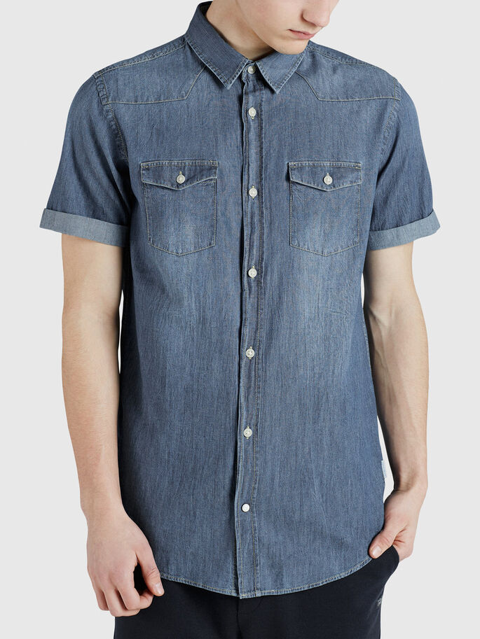 DENIM CAMISA DE MANGA CORTA, Dark Blue Denim, large