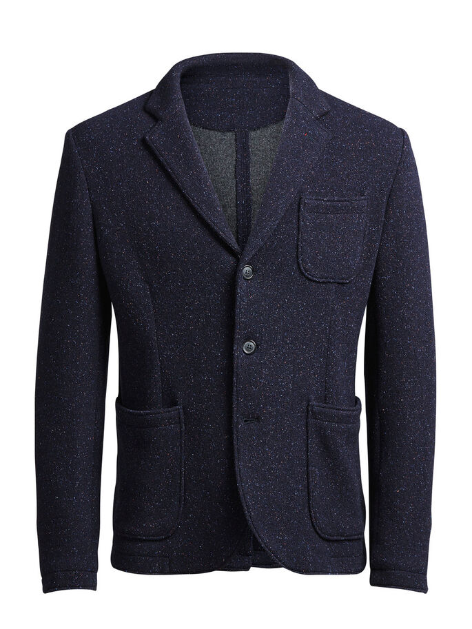 WOLLMISCHFASER- BLAZER, Dark Navy, large