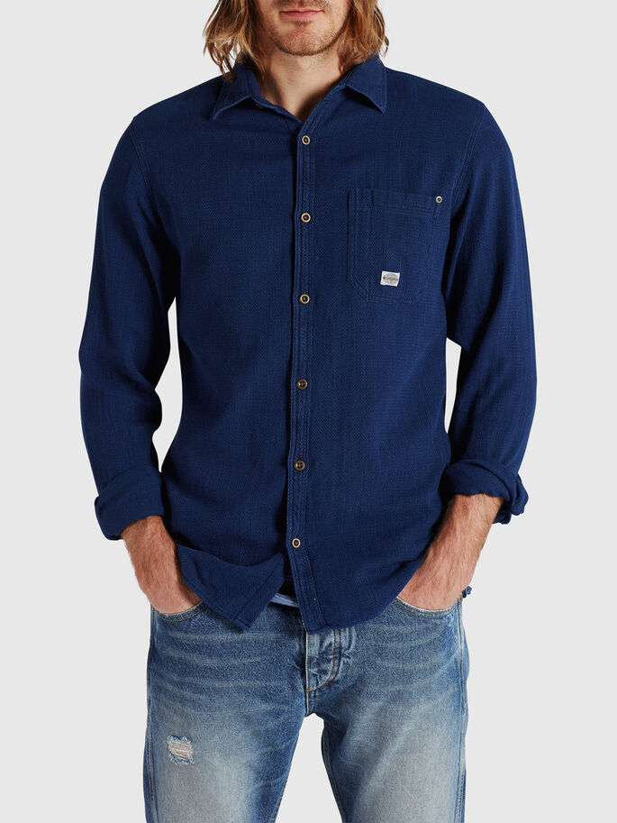 DETAILED CHECK CASUAL SHIRT, Total Eclipse, large