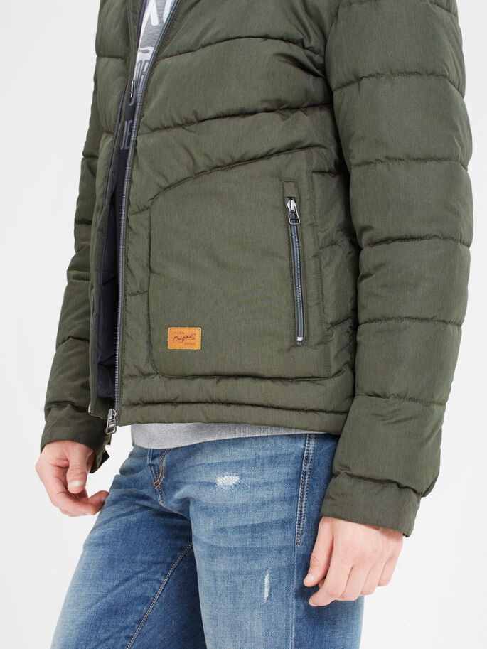 HOODED PUFFER JACKET, Rosin, large
